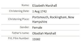 Elizabeth Marshall christening