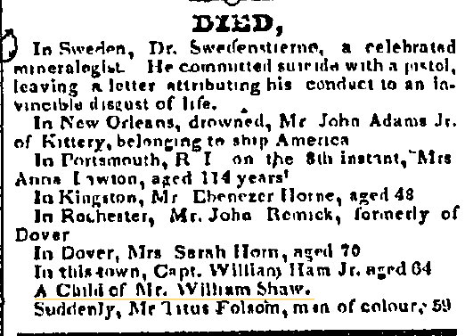 March 26 1825 shaw Portsmouth Journal of Literature and Politics Portsmouth New Hampshire Volume XXXVI Issue 13 Page 3