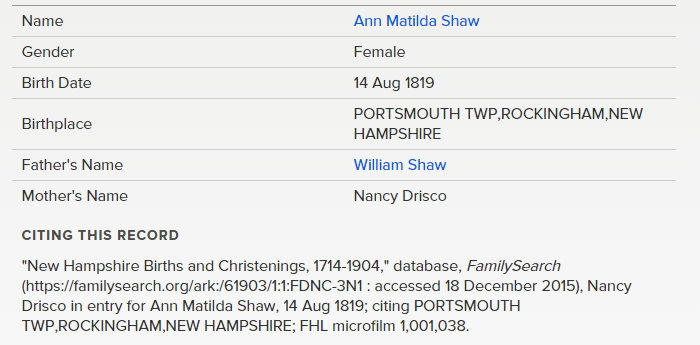 ann matilda shaw birth