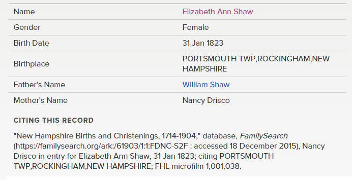 elizabeth ann shaw birth