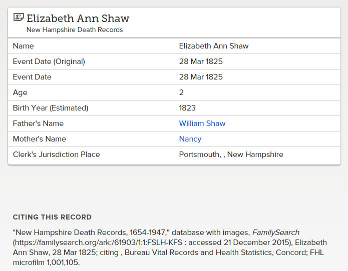 elizabeth ann shaw death