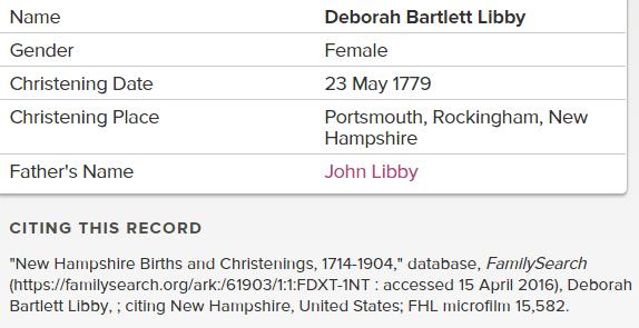 Deborah Bartlett Libby_Christening