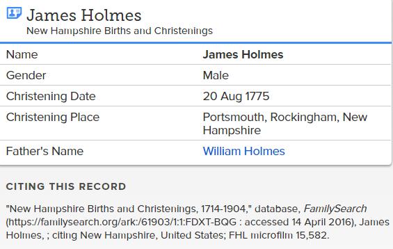James Holmes Christening