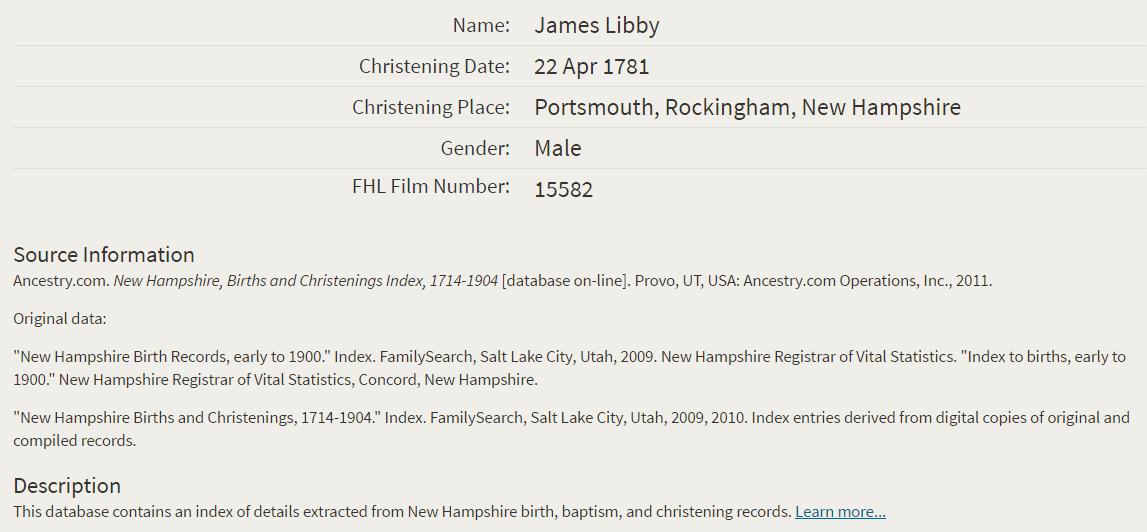 James Libby Christening 1781