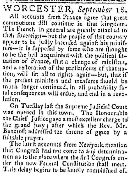 September 18 1788 Massachusetts Spy Worcester Massachusetts Volume XVII Issue 807 Page 3