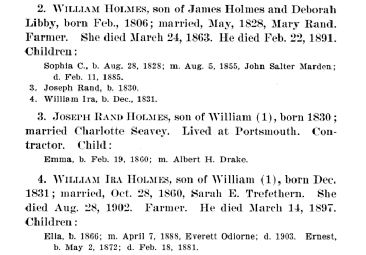 William Holmes lineage