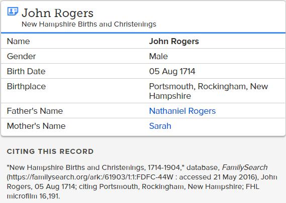 john rogers birth