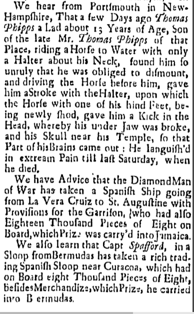 Friday November 27 1739  New-England Weekly Journal Boston Massachusetts Issue 658 Page 2
