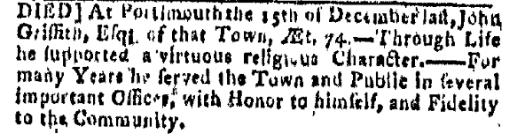 John Griffith Monday January 13 1777 Boston Gazette Boston Massachusetts Issue 1130 Page 3