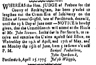 sg Friday April 14 1775 New-Hampshire Gazette Portsmouth New Hampshire Volume XIX Issue 964 Page 4