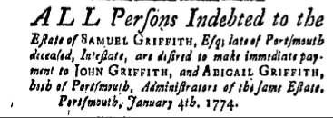 sg Friday January 14 1774 New-Hampshire Gazette Portsmouth New Hampshire Volume XVIII Issue 899 Page 4