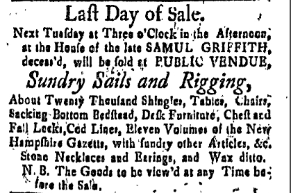 sg Friday June 10 1774 New-Hampshire Gazette Portsmouth New Hampshire Volume XVIII Issue 920 Page 3