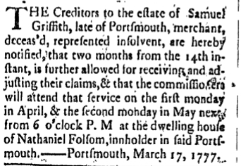 sg Saturday March 22 1777 Freemans Journal Portsmouth New Hampshire Volume I Issue 44 Page 4
